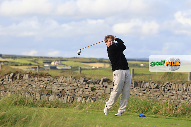 Mark Timmins (Coolattin) on the 17th tee during Round 1 of the South of Ireland Amateur Open Championship at LaHinch Golf Club on Wednesday 22nd July 2015.<br /> Picture:  Golffile | Thos Caffrey