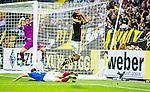 Solna 2014-07-24 Fotboll Europa League AIK - Linfield FC :  <br /> AIK:s Celso Borges har missat en m&aring;lchans vid st&auml;llningen 1-0 till AIK:s och reagerar<br /> (Foto: Kenta J&ouml;nsson) Nyckelord:  AIK Gnaget Friends Arena Linfield LFC Europa League Kval depp besviken besvikelse sorg ledsen deppig nedst&auml;md uppgiven sad disappointment disappointed dejected