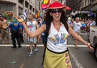 Gay contingent from Israel joins thousands of marchers and spectators turn at the 44th annual Lesbian, Gay, Bisexual and Transgender Pride Parade on Fifth Avenue in New York on Sunday, June 30, 2013. The turn out for the parade was especially large with the recent Supreme Court decision overturning the Defense of Marriage Act (DOMA) and California's Proposition 8.  (© Richard B. Levine)