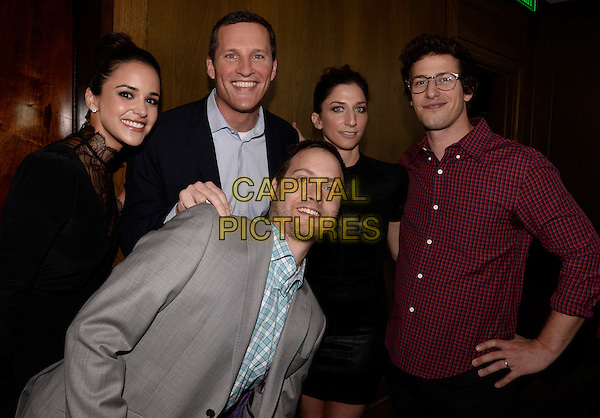 BEVERLY HILLS, CA - JULY 20: From left, Melissa Fumero, COO of FOX Broadcasting Company Joe Early, Dan Goor, Chelsea Peretti, and Andy Samberg attend the FOX 2014 Summer TCA All Star Party at Soho House on July 20, 2014 in Beverly Hills, California. <br /> CAP/MPI/DSPG<br /> &copy;DSPG/MediaPunch/Capital Pictures