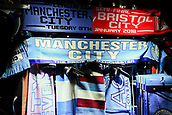 9th January 2018, Etihad Stadium, Manchester, England; Carabao Cup football, semi-final, 1st leg, Manchester City versus Bristol City; scarves for sale