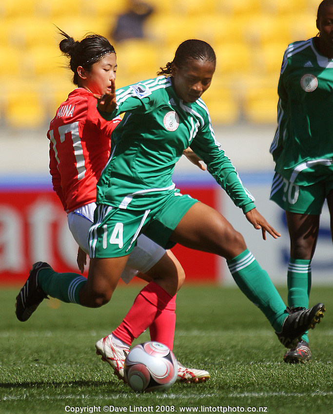 Soo Adekwagh in action during the FIFA Women's Under-17 World Cup pool match between Korea and Nigeria at Westpac Stadium, Wellington, New Zealand on Thursday, 30 October 2008. Photo: Dave Lintott / lintottphoto.co.nz