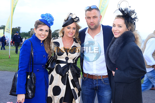 Katie Anna Mohan, Katherine Morgan, Andrew Farrell and Lisa Mangan at bellewstown races August meeting.<br /> Picture: Fran Caffrey www.newsfile.ie
