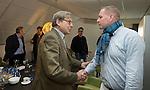UTRECHT - Frank Kirsten met Pieter Aalders. Forumdiscussie Speelkwaliteit in de golfsport. FOTO KOEN SUYK