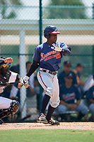 GCL Braves designated hitter Yunior Severino (28) grounds out during a game against the GCL Pirates on July 26, 2017 at Pirate City in Bradenton, Florida.  GCL Braves defeated the GCL Pirates 12-5.  (Mike Janes/Four Seam Images)