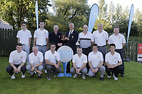 Eamon O'Connor Chairperson GUI Ulster Golf presents runners up Cairndhu golf club after the final of the AIG Jimmy Bruen Ulster Final at Dungannon Golf Club, Dungannon, Tyrone, Ireland. 11/08/2017<br /> Picture: Fran Caffrey / Golffile