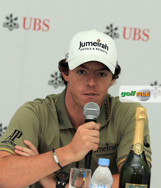 Rory McIlroy (NIR) in the interview room after chipping out of a bunker into the hole on the 18th green to win the 2011 UBS Hong Kong Open...Photo www.golffile.ie