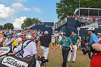 Justin Thomas (USA) and Shane Lowry (IRL) depart the green on 18 during 4th round of the 100th PGA Championship at Bellerive Country Club, St. Louis, Missouri. 8/12/2018.<br /> Picture: Golffile | Ken Murray<br /> <br /> All photo usage must carry mandatory copyright credit (&copy; Golffile | Ken Murray)