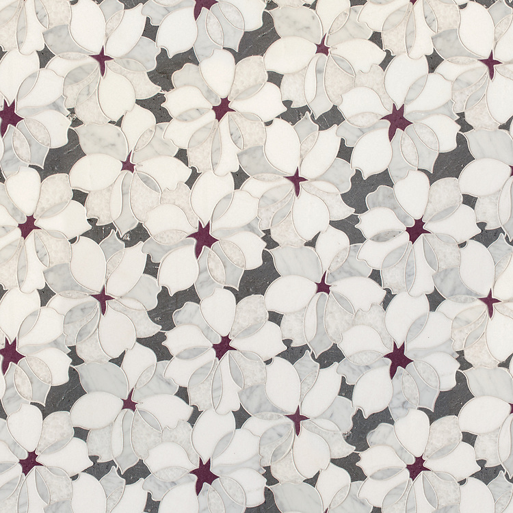 Sybil, a waterjet stone mosaic, shown in honed Basalto, Thassos, Snow White, Carrara, and polished Iris Basalto, is part of the Bright Young Things™ collection by New Ravenna.