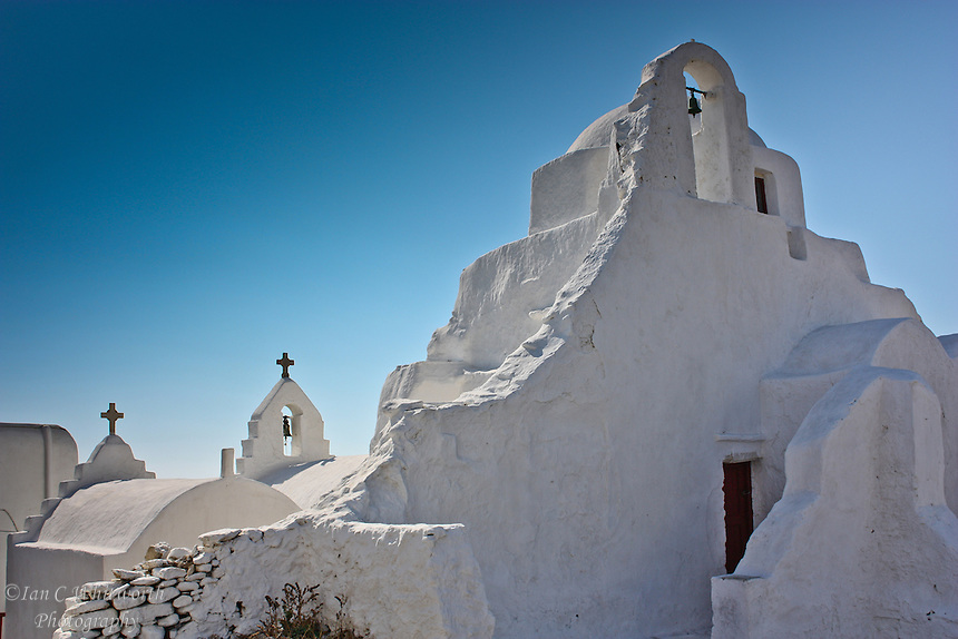 White church originally built in 1425 with additions in the 16th & 17th centuries at Mykonos in Greece