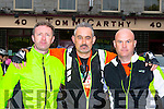 Tom McCarthy, pat and Denny Greany the organisors of the Longest day challenge at the starting line  in Castleisland on Saturday morning