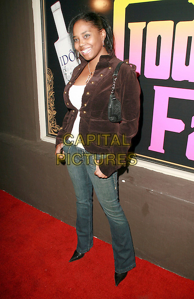 SHAR JACKSON.Ed Hardy Grand Re-Opening of the Melrose Store, Hollywood, California, USA..October 20th, 2006.Ref: ADM/CH.full length jeans denim brown jacket.www.capitalpictures.com.sales@capitalpictures.com.©Charles Harris/AdMedia/Capital Pictures.