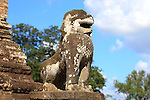 LION FIGURE IN EASTERN MEBON, TEMPLES OF ANGKOR, SIEM REAP