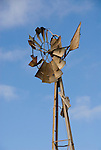 Broken and bent, rusting windmill, Oklahoma