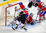 22 November 2008: Montreal Canadiens' goaltender Carey Price appears to give up a goal during the second period against the Boston Bruins at the Bell Centre in Montreal, Quebec, Canada.  The goal was disallowed as it was pushed in by a hand. After a 2-2 regulation tie and a non-scoring 5-minute overtime period, the Boston Bruins scored the lone shootout goal thus defeating the Canadiens 3-2. The Canadiens, celebrating their 100th season, honored former Montreal goaltender Patrick Roy, and retired his jersey (Number 33) during pre-game ceremonies. ***** Editorial Use Only *****..Mandatory Photo Credit: Ed Wolfstein Photo *** Editorial Sales through Icon Sports Media *** www.iconsportsmedia.com