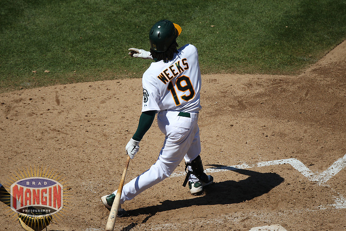 OAKLAND, CA - SEPTEMBER 7:  Jemile Weeks #19 of the Oakland Athletics bats against the Kansas City Royals during the game at O.co Coliseum on September 7, 2011 in Oakland, California. Photo by Brad Mangin