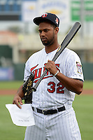 Minnesota Twins outfielder Aaron Hicks (32) waits for his turn in line for photo day on February 25, 2014 at Hammond Stadium in Fort Myers, Florida.  (Mike Janes Photography)