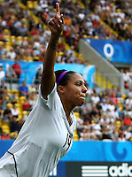 USA's Sydney Leroux celebrates after scoring 4:0 during the FIFA U20 Women's World Cup at the Rudolf Harbig Stadium in Dresden, Germany on July 17th, 2010.