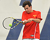 Colin Sacco of Chaminade returns a volley from Jeremy Carlos of St. Anthony's (not in picture) in the first singles match of the NSCHSAA varsity boys tennis team championship at Hofstra University on Tuesday, May 10, 2016. Sacco won the match to lead Chaminade to the league title.