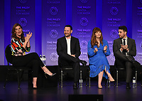 """HOLLYWOOD, CA - MARCH 24: Moderator Kristin Dos Santos, Creator/Executive Producer Dan Fogelman, Executive Producers Elizabeth Berger and Isaac Aptaker, attend PaleyFest 2019 for 20th Century Fox Television's """"This is Us"""" at the Dolby Theatre on March 24, 2019 in Hollywood, California. (Photo by Frank Micelotta/20th Century Fox Television/PictureGroup)"""