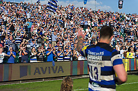 Matt Banahan of Bath Rugby waves to supporters after his final game for the club. Aviva Premiership match, between Bath Rugby and London Irish on May 5, 2018 at the Recreation Ground in Bath, England. Photo by: Patrick Khachfe / Onside Images
