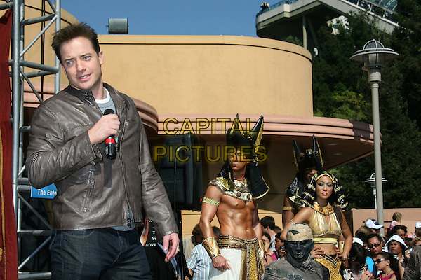"""BRENDAN FRASER.""""Revenge of the Mummy - The Ride"""" at Universal Studios, Universal City, California, USA, .27 July 2008..half length brown leather jacket jeans on stage .CAP/ADM/MJ.©Michael Jade/Admedia/Capital Pictures"""