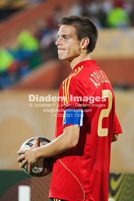 CAIRO - OCTOBER 5:  Spain team captain Cesar Azpilicueta in action during the FIFA U-20 World Cup round of 16 match against Italy at Al Salam Stadium on October5, 2009 in Cairo, Egypt.  Editorial use only.  Commercial use prohibited.  (Photograph by Jonathan P. Larsen)