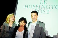Arianna Huffington fondatrice dell'Huffington Post, Anne Sinclair direttrice editoriale della versione francese e Paul Ackermann redattore capo.Parigi 23/1/2012 .Presentazione della versione francese del sito Huffington Post.Foto Insidefoto / Anthony Ghnassia / Panoramic