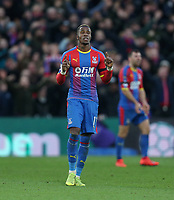 Crystal Palace's Wilfried Zaha celebrates scoring his side's first goal <br /> <br /> Photographer Rob Newell/CameraSport<br /> <br /> The Premier League - Saturday 9th February 2019  - Crystal Palace v West Ham United - Selhurst Park - London<br /> <br /> World Copyright © 2019 CameraSport. All rights reserved. 43 Linden Ave. Countesthorpe. Leicester. England. LE8 5PG - Tel: +44 (0) 116 277 4147 - admin@camerasport.com - www.camerasport.com