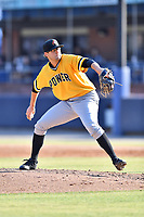 West Virginia Power starting pitcher Damon Casetta-Stubbs (22) delivers a pitch during a game against the Asheville Tourists at McCormick Field on June 1, 2019 in Asheville, North Carolina. The  Tourists defeated the Power 16-1. (Tony Farlow/Four Seam Images)