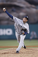 Felix Hernandez of the Seattle Mariners during a game from the 2007 season at Angel Stadium in Anaheim, California. (Larry Goren/Four Seam Images)