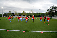 Kansas City, MO - Friday May 13, 2016: Chicago Red Stars players warm up before the game. FC Kansas City and the Chicago Red Stars played to a 0-0 tie during a regular season National Women's Soccer League (NWSL) match at Swope Soccer Village.
