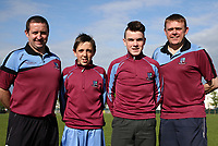 L to R: Rynal Browne (Coach), Daniel Brennan (Player), Aaron Connolly (At age 14), Damien Brennan (Coach).<br /> <br /> Pre Connacht Cup and Goodson Cup Finals photo shoot at Fahy's Field, Mervue, 28/4/14.
