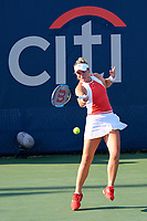 Washington, DC - August 3, 2019: Catherine McNally (USA) serves the ball during the WTA Woman's Doubles Championship at Rock Creek Tennis Center, in Washington D.C. (Photo by Philip Peters/Media Images International)