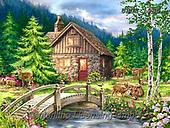 Dona Gelsinger, LANDSCAPES, LANDSCHAFTEN, PAISAJES, paintings+++++,USGE1935,#l#, EVERYDAY,deers,river,lodge