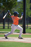 Houston Astros Luis Santana (66) bats during a Minor League Spring Training Intrasquad game on March 28, 2019 at the FITTEAM Ballpark of the Palm Beaches in West Palm Beach, Florida.  (Mike Janes/Four Seam Images)