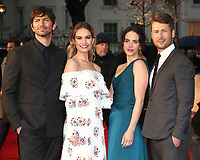 Michiel Huisman, Lily James, Jessica Brown Findlay and Glen Powell at The Guernsey Literary And Potato Peel Pie Society World Premiere at the Curzon Mayfair, London, on Monday April 9th 2018<br /> CAP/ROS<br /> &copy;ROS/Capital Pictures