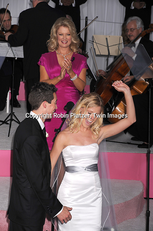 """Mary Hart marrying a bride and a groom, Shaun Bollinger and Michelle Golightly..arriving at The World Premiere of """"Made Of Honor"""" starring ..Patrick Dempsey and Michelle Monaghan on April 28, 2008 at The Ziegfeld Theatre in New York City. ....Robin Platzer, Twin Images"""