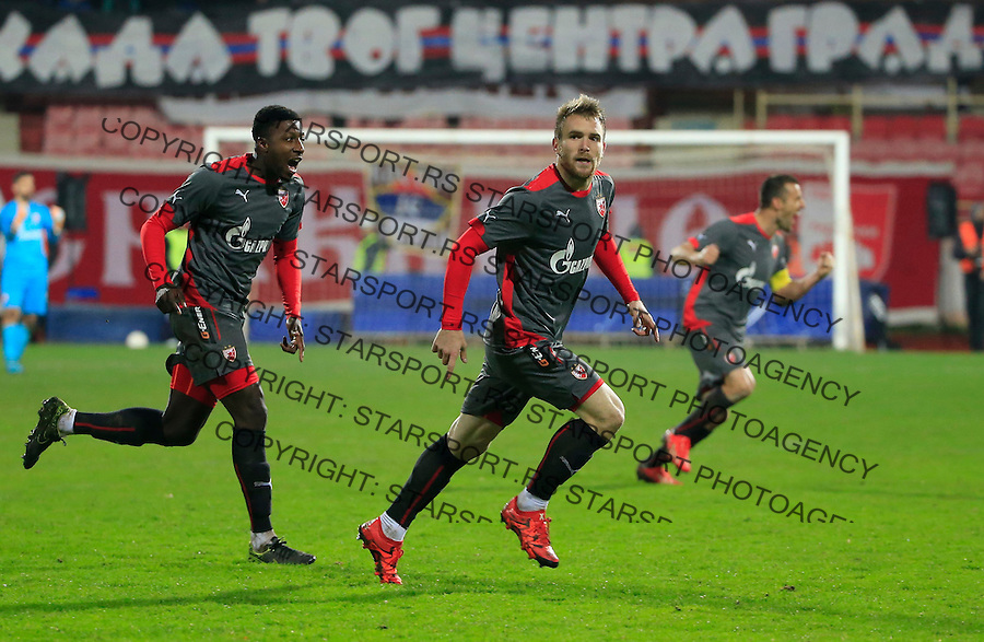 Fudbal Jelen Super League season 2015-2016<br /> Radnicki Nis v Crvena Zvezda<br /> Aleksandar Katai (C) celebrate scoring a goal with the Mitchell Donald and Aleksandar Lukovic<br /> Nis, 22.11.2015.<br /> foto: Srdjan Stevanovic/Starsportphoto&copy;