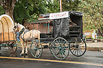 Days of '49 wagon train as they arrive in Plymouth after a rainy day in  Amador County's Shenandoah Valley, Calif.<br /> <br /> Diamond Jubilee commemoration of the founding of Amador County in 1854