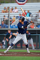 Connecticut Tigers Avery Tuck (20) at bat during a NY-Penn League game against the Auburn Doubledays on July 12, 2019 at Falcon Park in Auburn, New York.  Auburn defeated Connecticut 7-5.  (Mike Janes/Four Seam Images)
