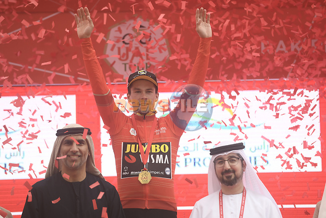 Race leader Primoz Roglic (SLO) Team Jumbo-Visma wins Stage 6 and retains the Red Jersey of the 2019 UAE Tour, running 175km form Ajman to Jebel Jais, Dubai, United Arab Emirates. 1st March 2019.<br /> Picture: LaPresse/Fabio Ferrari | Cyclefile<br /> <br /> <br /> All photos usage must carry mandatory copyright credit (© Cyclefile | LaPresse/Fabio Ferrari)