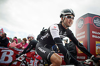 Fumy Beppu (JAP/Trek Factory Racing) to the start podium<br /> <br /> Giro d'Italia 2014<br /> stage 3: Armagh (NI) - Dublin (IRL) 187km