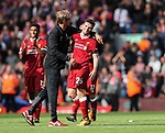 Liverpool's Andy Robertson celebrates with Jurgen Klopp during the premier league match at the Anfield Stadium, Liverpool. Picture date 19th August 2017. Picture credit should read: David Klein/Sportimage