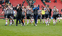 Grimsby Town FC applaud the travelling support during the Sky Bet League 2 match between Leyton Orient and Grimsby Town at the Matchroom Stadium, London, England on 11 March 2017. Photo by Carlton Myrie / PRiME Media Images.