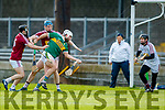 Michael Boyle Kerry in action against Aonghus Clarke and Tommy Doyle Westmeath in the Allianz Hurling League 2A at Austin Stack Park on Sunday.
