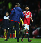 Louis Van Gaal, manager of Manchester United thanks Marcus Rashford - Barclay's Premier League - Manchester United vs Watford - Old Trafford - Manchester - 02/03/2016 Pic Philip Oldham/SportImage
