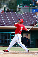 Ryan Jones #5 of the Inland Empire 66'ers bats against the High Desert Mavericks at San Manuel Stadium on April 8, 2013 in San Bernardino, California. Inland Empire defeated High Desert, 6-2. (Larry Goren/Four Seam Images)
