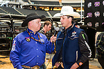 JB MAUNEY gets interviewed before the Iron Cowboy V event at the AT & T stadium in Arlington, Texas.