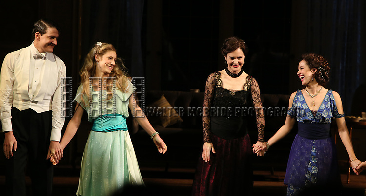 Gabriel Ebert, Charlotte Parry, Elizabeth McGovern and Anna Camp during the Broadway Opening Night performance Curtain Call Bows for The Roundabout Theatre Company production of 'Time and The Conways'  on October 10, 2017 at the American Airlines Theatre in New York City.